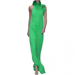 Gucci green ruffled silk-crepe gown