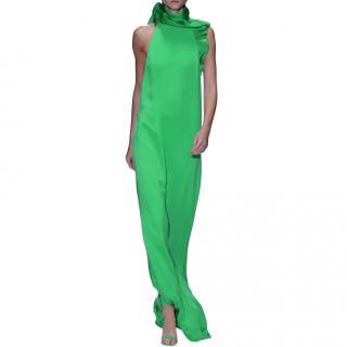 Gucci green ruffled silk-crepe gown