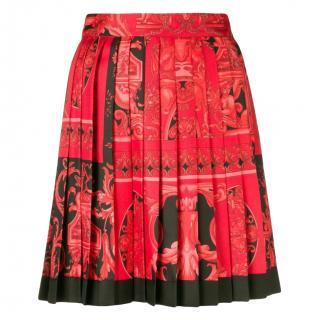 Versace red printed barocco silk skirt