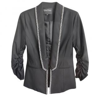 Max Mara Studio faux pearl and crystal detail blazer