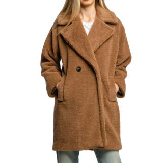 Marella Camel Double Breasted Teddy Coat