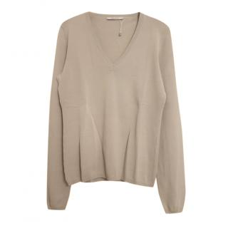 MaxMara sand V-neck knitted jumper