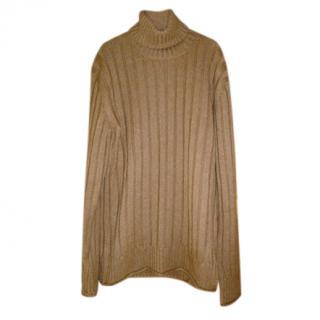 Dolce & Gabbana ribbed camel rollneck jumper