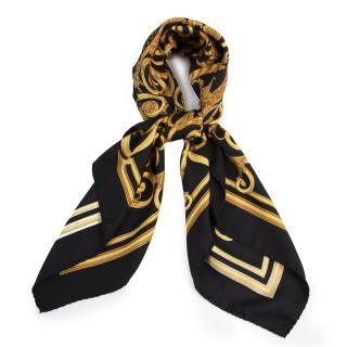 Hermes Black & Gold Les Tuileries Silk Scarf 90