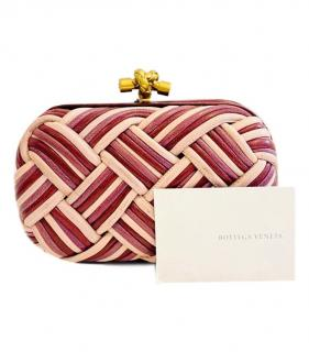 Bottega Veneta pink and cream leather knot clutch bag