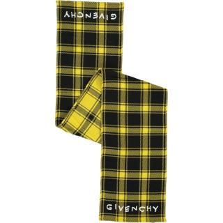 Givenchy Yellow Plaid Wool Scarf