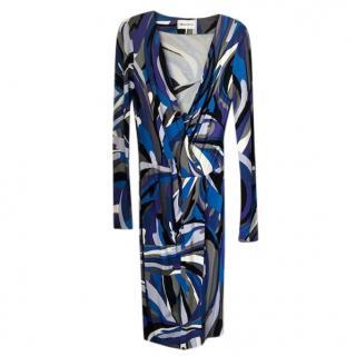 Emilio Pucci Blue Printed Wrap Dress