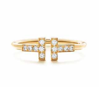Tiffany & Co, Tiffany T Diamond Wire Ring in 18k Gold