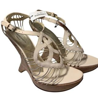Alberta Ferretti Ivory Corded Leather Curved Wedge Sandals