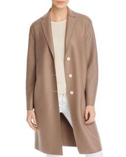 Harris Wharf Single Breasted Taupe Wool Coat