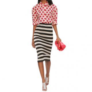 Burberry Prorsum striped satin jersey pencil skirt