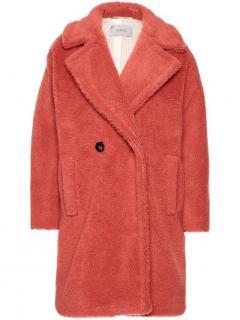 MaxMara Marella pink doubt breasted teddy coat