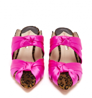 Sophia Webster leopard and hot pink mules