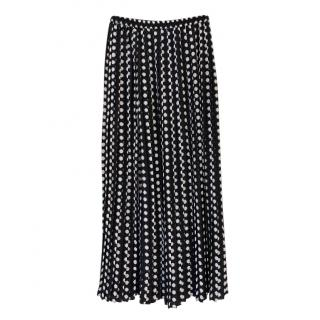 Michael Michael Kors nay polka dot pleated midi skirt