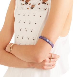 Chloe Gold Tone Blue Striped Bracelet