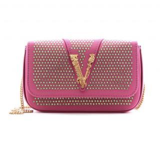 Versace Pink Crystal Studded Virtus Crossbody Bag