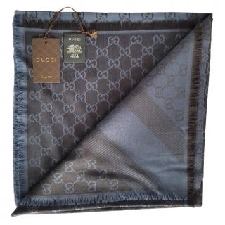 Gucci Blue Monogram Reversible Wool & Silk Scarf