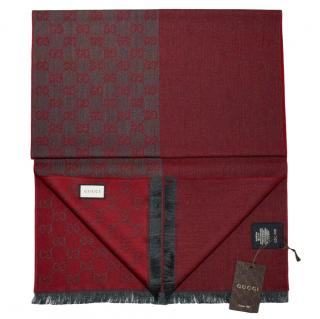 Gucci red/grey wool reversible large shawl