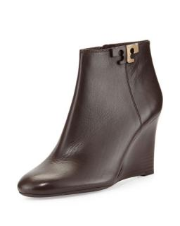Tory Burch Brown Leather Wedge Ankle Boots