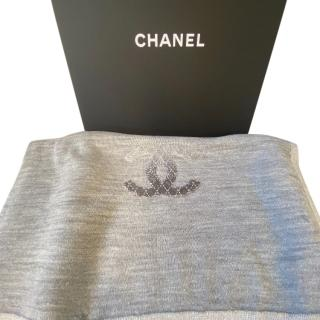 Chanel metallic silver sequin logo wool blend scarf