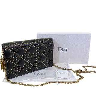 Christian Dior Lady Dior studded black leather wallet on a chain bag