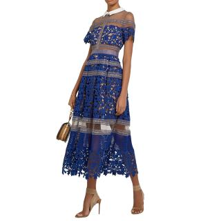 Self Portrait Liliana blue lace midi dress