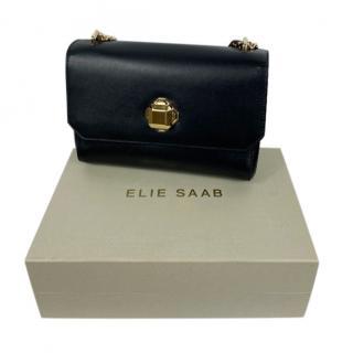 Elle Saab black leather shoulder bag