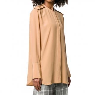 Stella McCartney beige pelt shoulder detail silk blouse