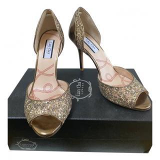 Lucy Choi Octavia bronze glitter peep-toe heels