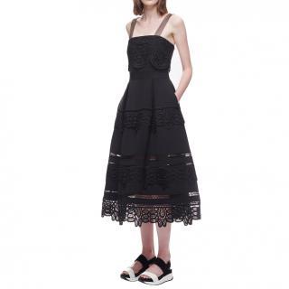 Self Portrait Guipure black lace dress