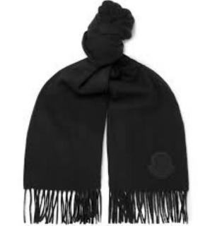 Moncler soft lack will fringed scarf