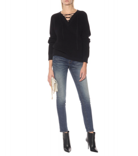 Saint Laurent Black Lace-Up Ribbed Jumper
