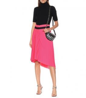 Balenciaga Pink Pleated Asymmetric Logo Skirt