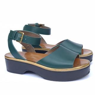 Marni Green Leather Platform Sandals