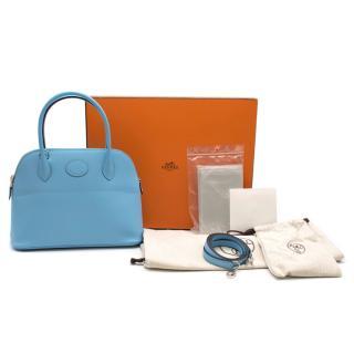 Hermes Bolide 27 in Celeste Epsom leather