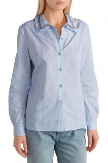 Miu Miu blue cotton-jacquard shirt