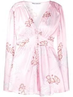 Paco Rabanne Blush Floral Print Button Down Mini Dress