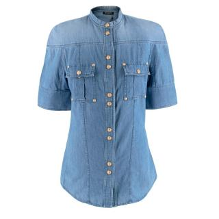 Balmain Denim Short Sleeve Shirt