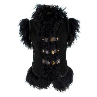 Gucci Black Suede & Shearling Buckle Detail Sleeveless Jacket
