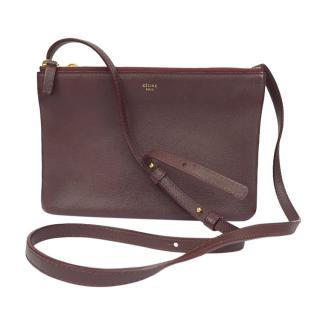 Celine burgundy leather trio pouch bag