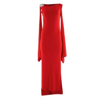 Balmain Red Knit Draped Shoulder Gown