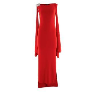 Balmain Red Knit Draped Shoulder Gown