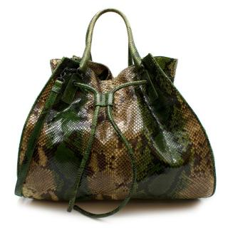 Bottega Veneta Limited Edition Green python XL hobo