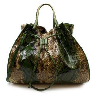 Bottega Veneta Limited Edition Green python XL hobo