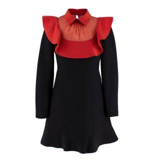 Valentino Wool Red Mesh Collar Crepe Mini Dress