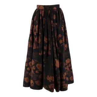 Ulyana Sergeenko Black Floral Wool A-Line Skirt