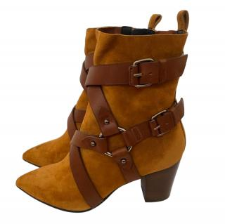 Balmain brown suede & leather strap boots