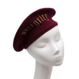 Itchy Scratchy Patchy Burgundy Embroidered Beret