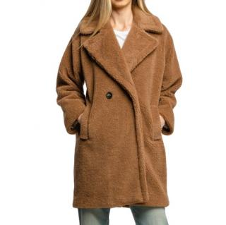 Marella by MaxMara brown teddy double breasted coat