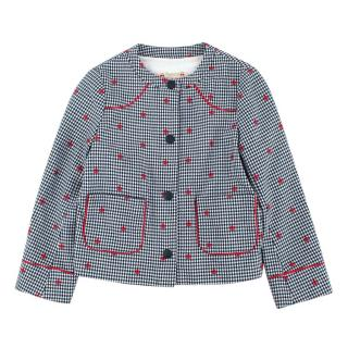 Bonpoint Girls Navy & White Embroidered Houndstooth Coat
